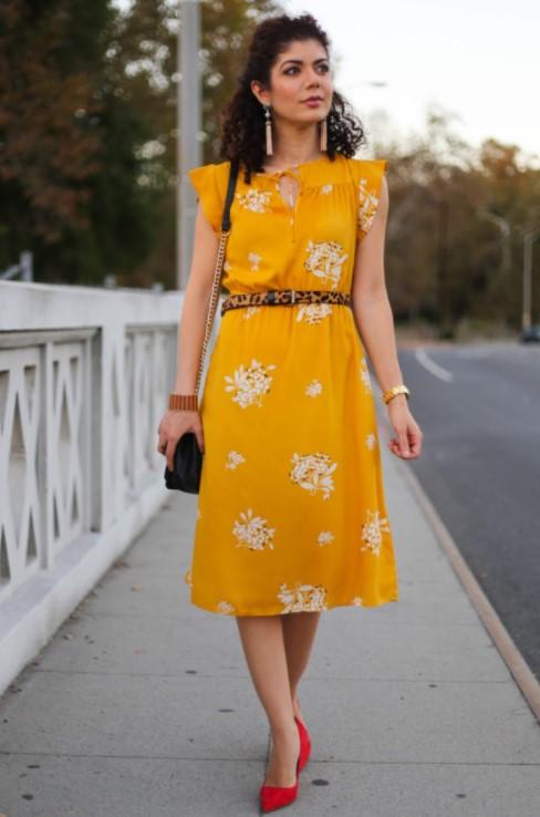Hardal Renk Elbise Kombinleri